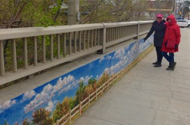 Islington Village murals, John Kuna - Laurie & Veronika on the Islington Bridge